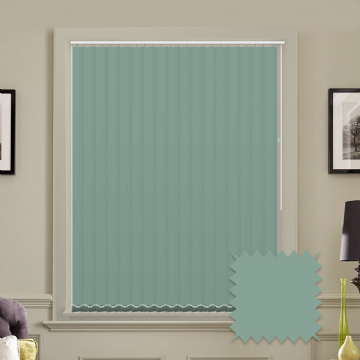 Turquoise Made to measure vertical blinds in Carnival Misty Blue plain FR / Antibacterial fabric